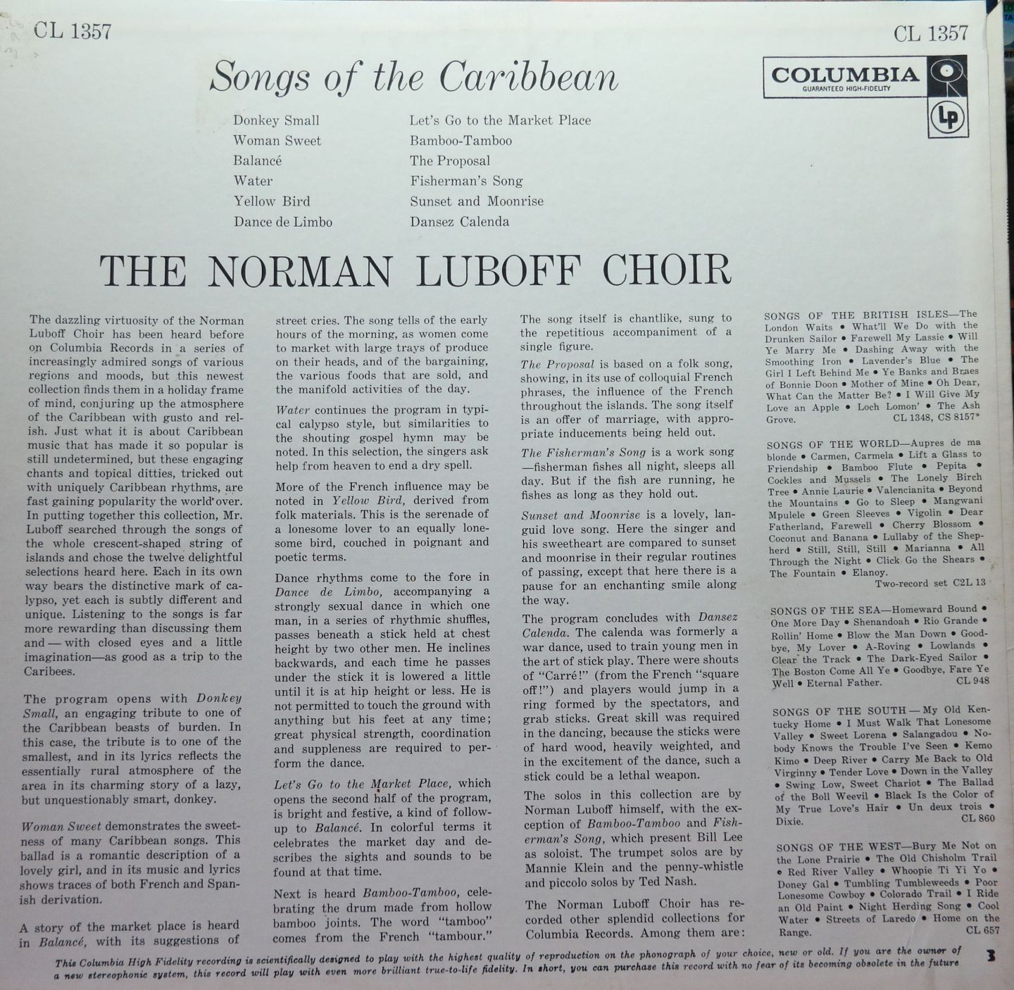 Norman Luboff Choir - Songs Of The Caribbean - CL1357